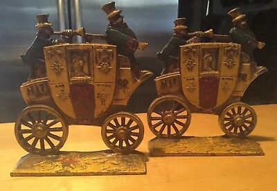 1930s Nuydea Pair of Antique Cast Iron Bookends Royal Mail Carriage