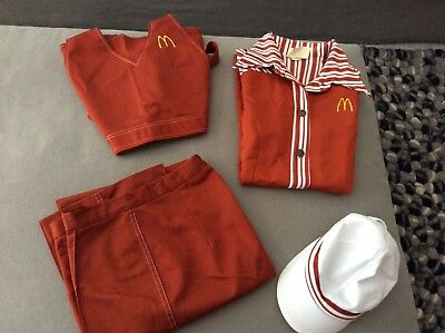 Vintage 1976 McDonald's Uniform Set (4 piece set includes shirt pants hat apron)