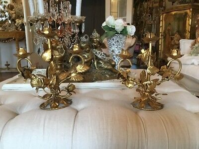 pair of antique Vtg Tole Rose Candelabra Candle Italian Gold Gilt