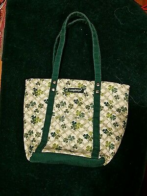 Longaberger Green SHAMROCK  St. Patrick's day tote bag