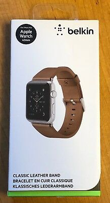 NEW Open Box Belkin Classic Leather Band for 42mm Apple Watch Series 1 2 3 Brown