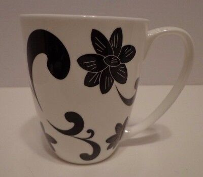 1 Coffee Cup Mug ASA Selection Poesie Black White Floral Chintz Flowers Scrolls