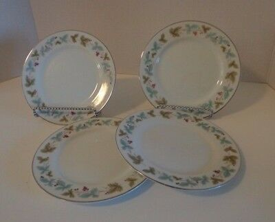"""4 Bread Plates Leaves Berries Vtg Fine China Japan 6701 Holiday 6"""""""