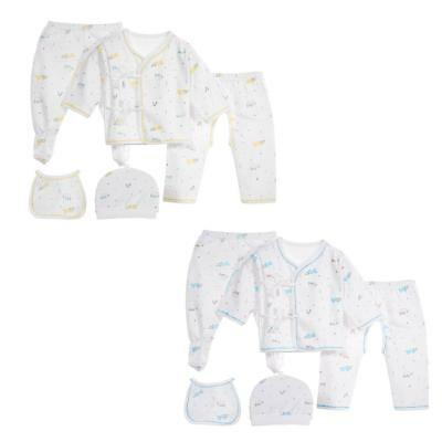 5pc/Set Cute Newborn Baby Cartoon Pattern Soft Cotton Top Pants Hat Leggings Bib