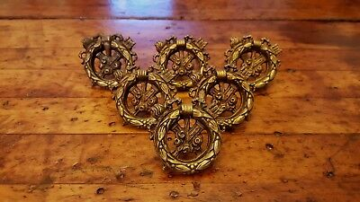 Vtg Brass Drawer Pull Set 6 Bow Olympic Torch Flower Drop Ring Handle Design