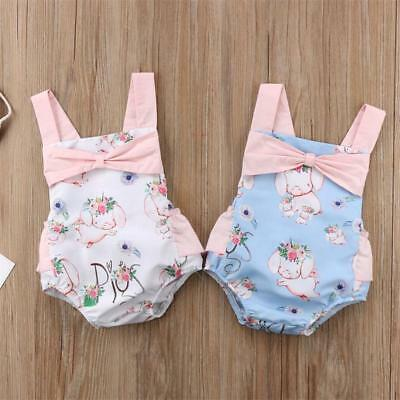 AU Newborn Baby Girl Kid Backless Easter Romper Bowknot Playsuit Bodysuit Outfit