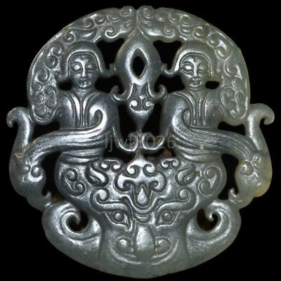 Old China Hand-carved jade Nobility wear amulets Pendant collect~Dragon(春宫图)