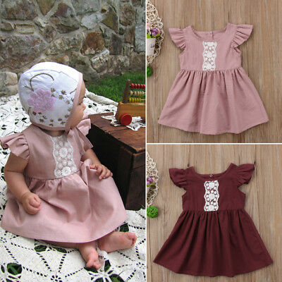 AU Newborn Infant Baby Girl Lace Short Sleeve Party Pageant Prom Dress Clothes