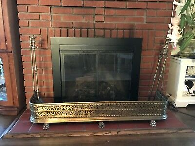 Antique Fireplace Fender Brass Lions Paw Feet Regency Screen Original Tool Set