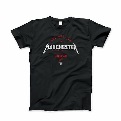 Manchester United T-Shirt Vintage Heavy Metal Distressed Soccer Tee *NEW