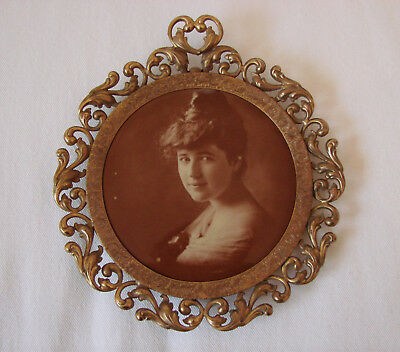 Antique Vintage Brass Picture Frame With Celluloid On Tin Sepia Photograph