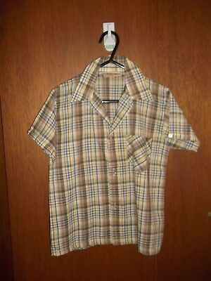 MINT x 2 - Vintage 70's Boys button down plaid shirts - SZ 6 - ( Sunny Skippy )