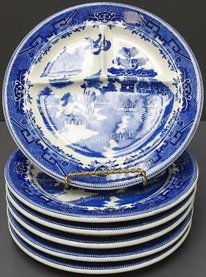 "Lot 6 Shenango China Divided Grill Dinner Plates 10.25"" Blue Willow Restaurant"