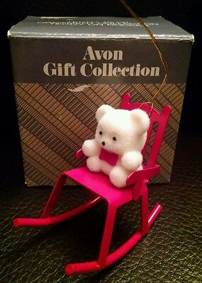 Vintage Avon Teddy Bear Collection Teddy Bear On Rocker Ornament/nib