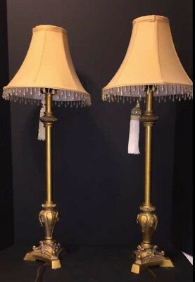 """Vintage Pair ofTwo Golden Lamps With Tassels.30"""" Tall and 11"""" Shade"""