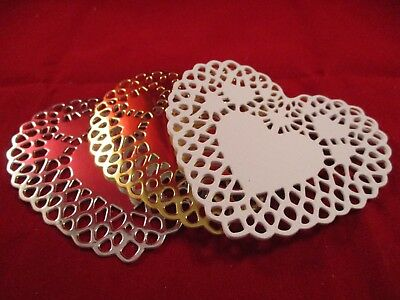 6 Small Heart Doily Die Cuts.........white,,,,,,gold.......silver