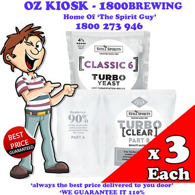 CLASSIC 6 TURBO YEAST + TURBO CLEAR  x 3 PACK EACH @ $36.00 By STILL SPIRITS