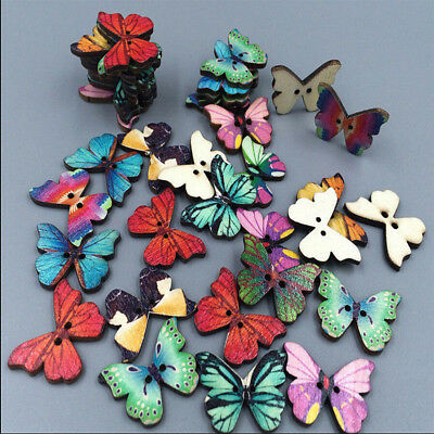 50pcs/Lot Colorful 2 Holes Mixed Butterfly Wooden Buttons Sewing Scrapbooking