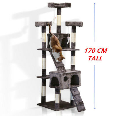 Cat Tree Scratching Post Sisal Pole Condo Toy House Furniture Multi level 170cm