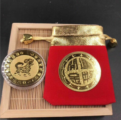 2018 New Year Dog Gold Plated Foil Coin Chinese Zodiac Blessing Wealth Lucky