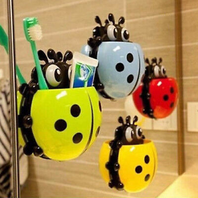 New Toothbrush Holder Ladybug Toothpaste Dispenser Kids Bathroom Decorations