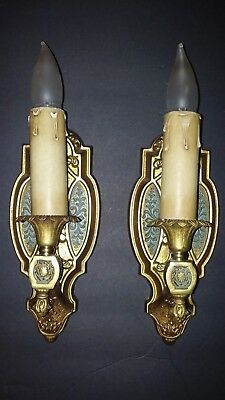 antique art deco wired wall sconce gold and jade metal