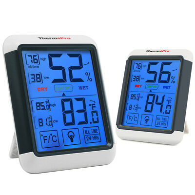 2×ThermoPro TP55 Digital Indoor Outdoor Thermometer Hygrometer With Touch Screen