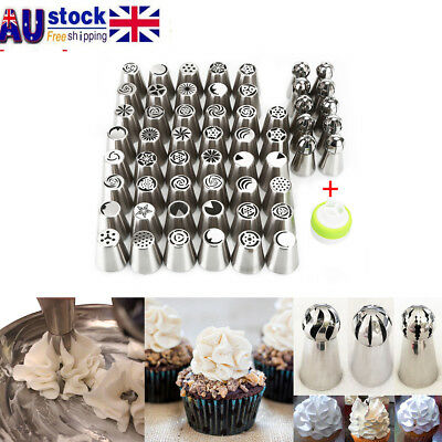56pcs DIY Russian Icing Piping Nozzle Cake Flower Decorating Decor Tips Tools AU