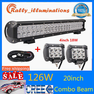 20inch 126W CREE Led Light Bar Combo+ 2X 18W Driving offroad 4WD+Free Wiring Kit