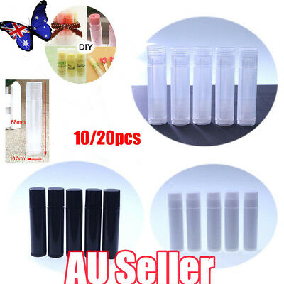 10/20x Clear Black White Empty lipstick Plastic Lip Balm Container Tubes Caps 5g