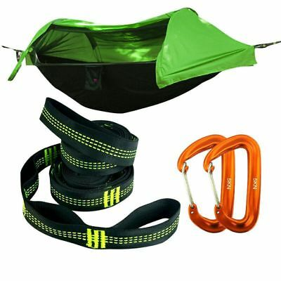 Portable Tent Camping Hammock with Mosquito Net Rain Cover Water&Windproof Green