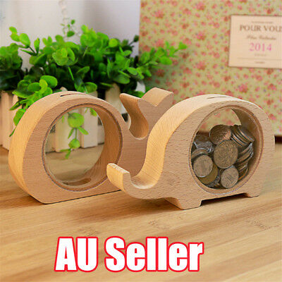 Creative Handcrafted Wooden Piggy Bank Saving Money Coin Box for Kids Gift BO