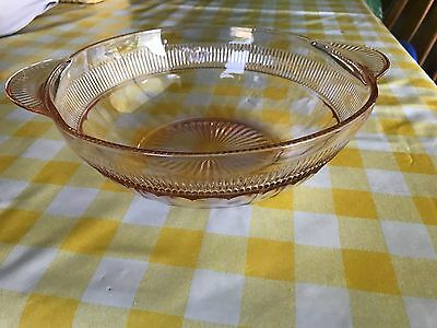 Pink Depression Glass Serving Bowl with Handles - Price Reduced