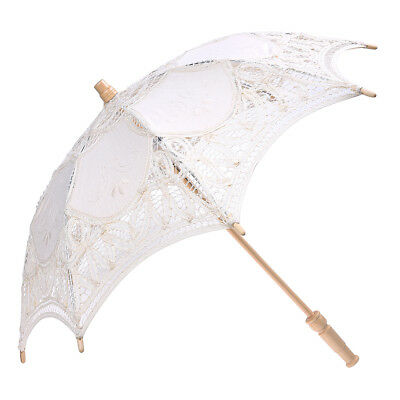 Lace Wooden handle Sun umbrella Wedding decoration props Q9Z6