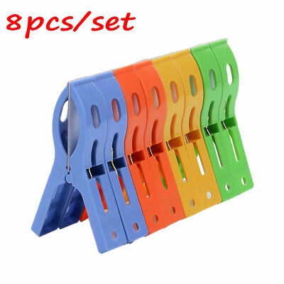 8pc Plastic Colorful Laundry Clothes Beach Towel Pins Hangers Spring Clamp Clips