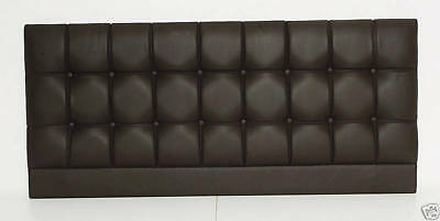 "Modern Buttoned Expresso Contemporary Double Bed Headboard 4'6"" Faux Leather"