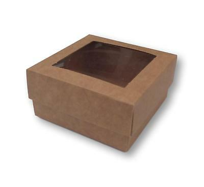 50 KRAFT 3 x 3 INCH BOXES WITH WINDOW LID, GIFTS, CAKES, GARMENTS ETC