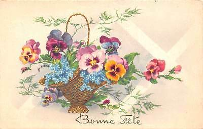 Bonne Fete pansy forget-me-not basket fantasy (anniversary, birthday) 1958