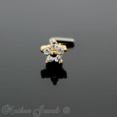 14K Yellow Gold Ip Simulated Diamond Flower L Shape Bent Nose Piercing Stud