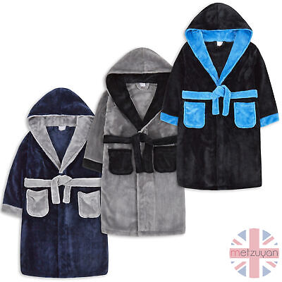 Childrens Boys Kids Robe Dressing Gown Plush Contrast Nightwear Sleepwear New