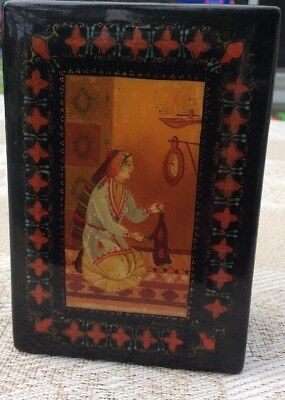 Russian Lacquer Hand Painted Artist Signed Vintage Trinket Box