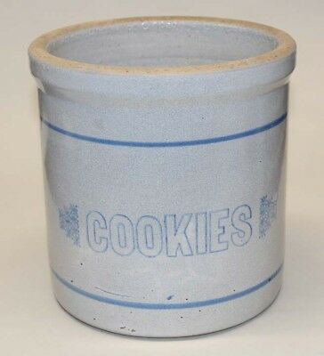 Uhl Pottery ~ COOKIES 1-gallon crock ~ Rare ~ blue-and-white stoneware