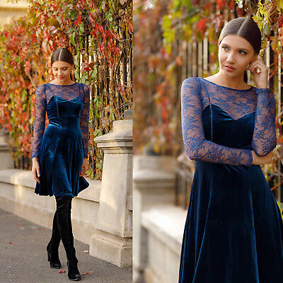 f188897c49a Alisa Pan Women Velvet Long Sleeve Lace Cocktail Party Evening Prom Dress  05898