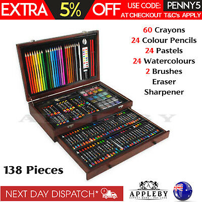 138 Piece Art Set Gift Box Complete Drawing Colouring Pencils Pastels Painting