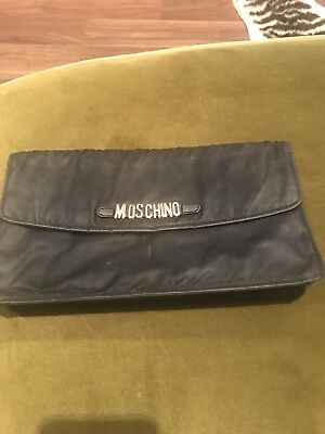 Moschino Vintage Black Wallet Clutch Travel Bag Gold Letters 1990's Nylon