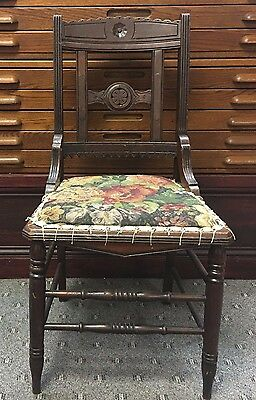 Vtg Antique Side Accent Dining Chair Walnut, Cherry or Mahogany?? Unique Flowers