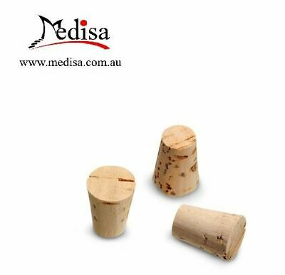 Test Tube Stoppers, Cork, Solid, 8B x 11Tmm, pkt of 100 pcs