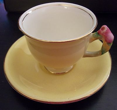 Royal Winton Grimwades Yellow Cup & Saucer Tiger Lily Handle 2.5 x 3 inch 5488C