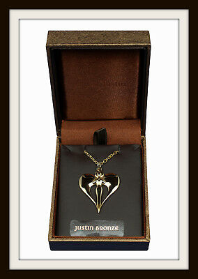 Angel Heart Bronze Pendant ~ Love & Protection Necklace From St Justin  Free P&p