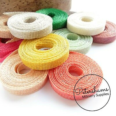 1cm wide Sinamay Bias Binding Strip 1.6m for Millinery and Hats - 40 COLOURS!